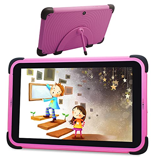 Android 11 Tablet Niños de 8 Pulgadas, Tablet Niños con ROM de 32GB, 3GB RAM, Full HD 1080P Display Quad-Core Android 11 WiFi, Tabletas de Aprendizaje con Soporte de Estuche a Prueba de niños (Pink)