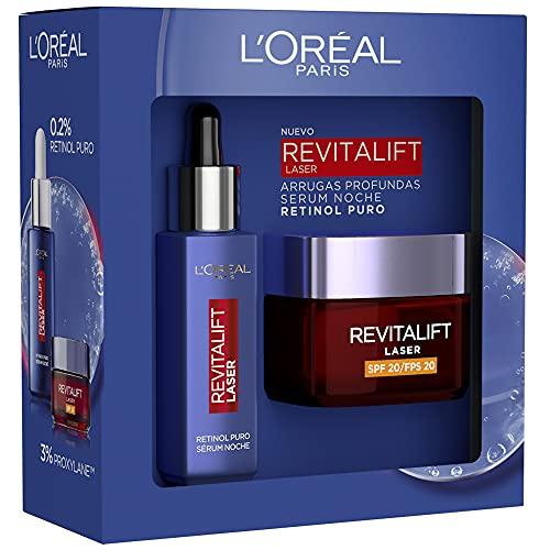 Pack L´Oréal Paris Revitalift Laser Incluye Serum Retinol y Crema Día SPF20 y 7 muestras Serum Revitalift Filler Ácido Hialurónico, Exclusivo Amazon