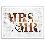 Poster Kupfer - Mrs und Mr Ehe Hochzeit Liebe Herz