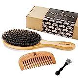 Brosse à Cheveux en Polls de Sanglier Pour un Traitement Naturel des Cheveux, Peigne en Bois Pour...