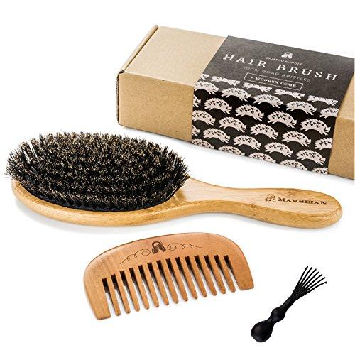 Cepillo de cerdas de pelo de jabalí, para conseguir un acondicionamiento natural del pelo, peine de madera para desenredar el pelo, este juego deja el pelo brillante y sedoso