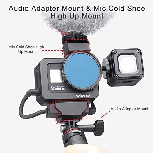 Linghuang Aluminium Videokäfig Case für GoPro 8, Dual Cold Shoe Halterung Vlog Gehäuse Shell Schutz Rahmen Mount mit 52 mm Filter Adapter Ladeschnittstelle für GoPro Hero 8