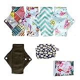 Lot de 5 protège-slips réutilisables et lavables pour femme - Débit faible - 18 cm