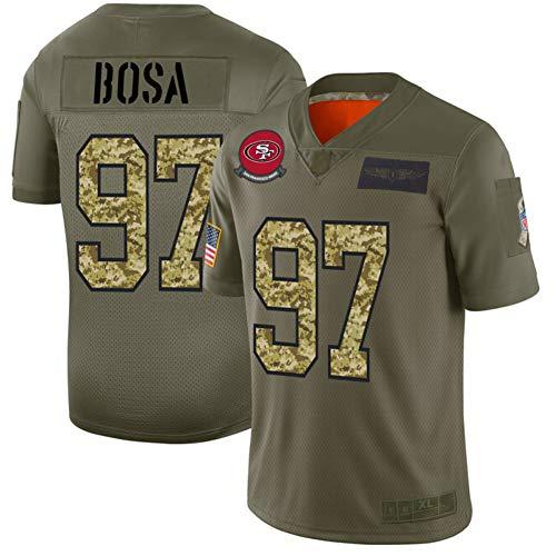 Camiseta de fútbol americano para hombre # 97 Nick Bosa San Francisco 49ers, manga corta, de tela bordada, ropa deportiva, 123, verde oliva, 2XL(95~100)