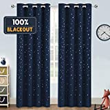 Blackout Kids Curtains for Bedroom Thermal Insulated Silver Twinkle Star Curtains for Boys Girls Antique Grommet Top Window Treatment 2 Panels Drapes for Nursery, Soft Thick (52'W x 84'L, Navy)