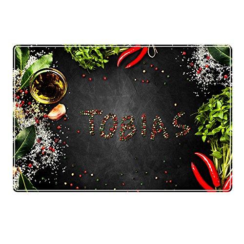 Tischset mit Namen ''Tobias'' Motiv Pfeffer - Tischunterlage, Platzset, Platzdeckchen, Platzunterlage, Namenstischset