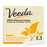 Veeda 100% Natural Cotton Compact BPA-Free Applicator Tampons, Chlorine, Toxin and Pesticide Free, Super Plus, 16 Count (Pack of 1)