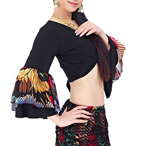 BellyLady ベリーダンス衣装 ラッパの袖 ロングスカート ジプシースカート トルコ ベリーダンス - ブラック