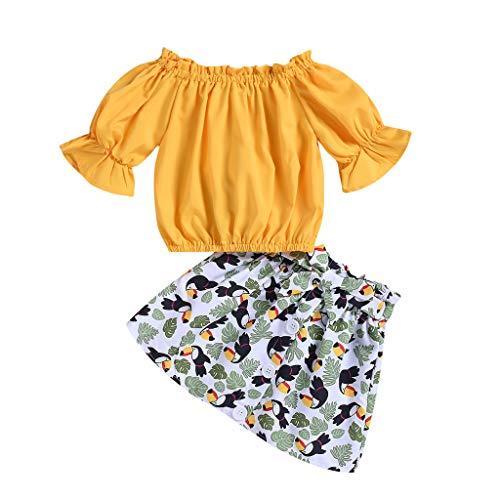 Kleinkind Kinder Baby Mädchen Kleidung Set Einfarbig Off Schulter T-Shirts Oberteile Animal Print Schleifenröcke Röcke Outfits Set, Gelb, 2-3 Jahre