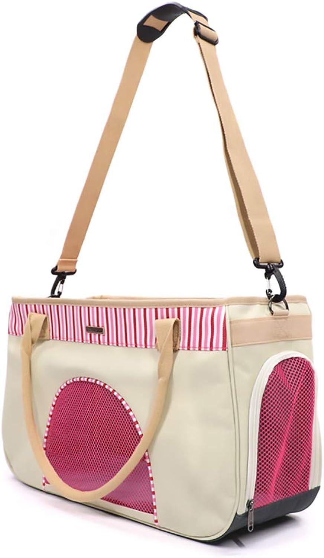 GOYOO Pet Backpack Dog Out Carrying Bag Cat Portable Backpack Summer Breathable OneShoulder, Diagonal Puppy Package,Pink,L