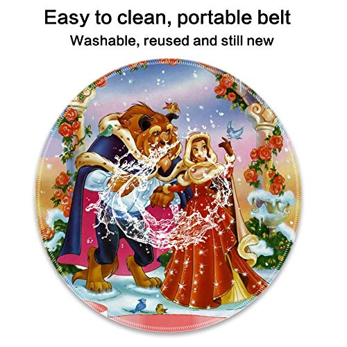DISNEY COLLECTION Round Computer Game Mouse Pad Stitched Edges Beauty and Beast Christmas Faddish Smooth Surface Lightweight Skid Proof Rubber High Mouse Tracking.