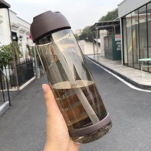 Taza de paja de 1000/850/550 ml Botella de agua de gran capacidad con escala Tazas de plástico a prueba de fugas Prácticas tazas Rosa / Azul-850ml, café