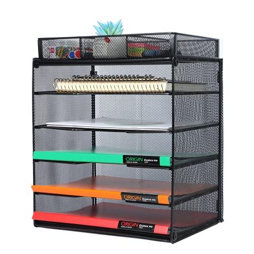 Samstar Organizador de archivos de escritorio, bandeja de papel para cartas, organizador de archivos de 5 niveles con 3 compartimentos, color negro