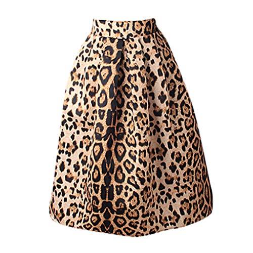 BRISEZZ dames luipaard gedrukt ballon rok A lijn retro rok midi swing rok plooirok