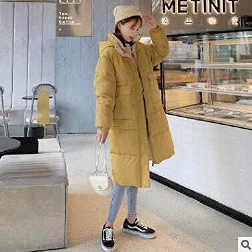 Daunenjacke,Jacket Women Winter Kapuzen Damen Jacke Asymmetrischer Länge Solide Parka Jacke Mid-Long Dick, Farbe Creme Farbe, XL