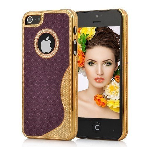 Cover Housse de protection des bornes pour Apple iPhone 5 femmes élégants chics femelle de cas de fille violet foncé et paillettes brillant de téléphone portable de cas de téléphone portable