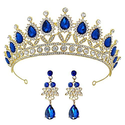 Juego de corona y pendientes, tiara con diamantes de imitación con pendientes colgantes, conjuntos de joyería para bodas y cumpleaños