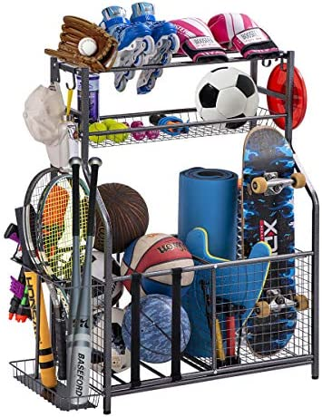 Garage Sports Equipment Storage Organizer with Baskets and Hooks Easy to Assemble Sports Ball product image