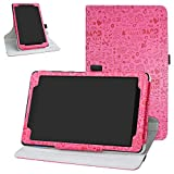 Bige for Lenovo Tab E8 2018 Rotating Case,360 Degree Rotary Stand with Cute Pattern Cover for 8' Lenovo Tab E8 TB-8304F Tablet(2018),Rose Red