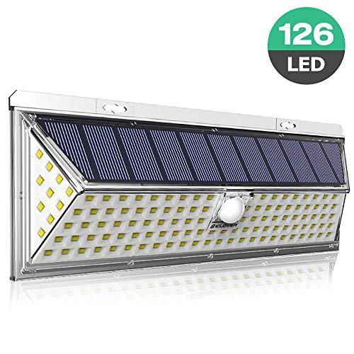 Solarlampe für Außen, 126LED Solarleuchte mit Bewegungsmelder Aussen, 3 Modi Gartendeko Solar Aussenleuchte Beleuchtung Solarlicht 270 ° Weitwinkel 2200mAh Wandleuchte für Garten, Auffahrt, Garage