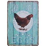 TISOSO Tin Signs Farm Fresh Free Range Eggs Retro Vintage Tin Bar Sign Country Home Decor Garage Sign Bar Wall Decor Art Poster 8X12Inch
