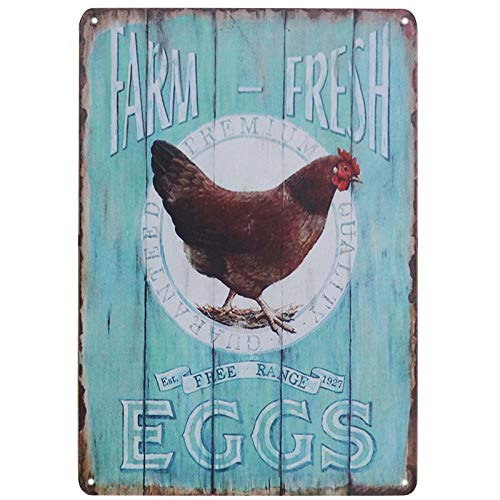 TISOSO Tin Signs Farm Fresh Free Range Eggs Retro Vintage Tin Bar Sign Country Home Decor Garage Sign Bar Wall Decor Art Poster 8X12Inch