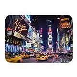 Alfombra de baño, New York City Times Square Broadway Theatres y letreros LED Animados Ciudad de Nueva York Estados Unidos, Alfombras de Felpa para decoración de baño con Respaldo Antideslizante