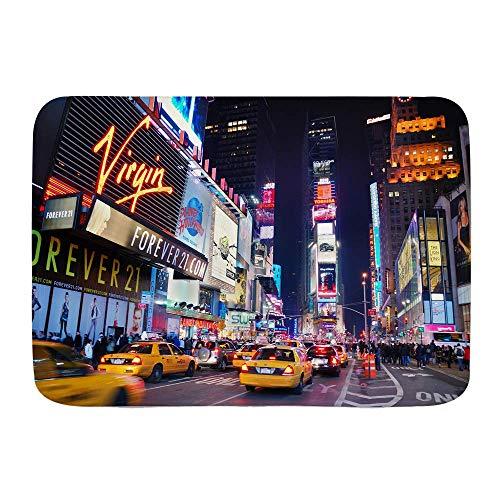 Tapis de Bain Tapis, New York City Times Square Broadway théâtres et enseignes LED animées New York City États-Unis, Tapis de Salle de Bain en Peluche avec Support antidérapant