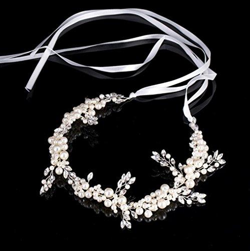CYY Mode Elegante Braut Kopfschmuck Perle Glas Kopfschmuck Hochzeit Brautkleid (7 * 42cm)