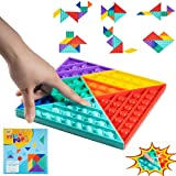 7.8' Pattern Blocks Push Bubble Pop Sensory Fidget Toy,7 Pcs Tangram Puzzle Toys,Bubble Popper Autism Special Needs Anxiety Stress Relief Toys,Popping Fidget Squeeze Game Square Toys Gift for Kids