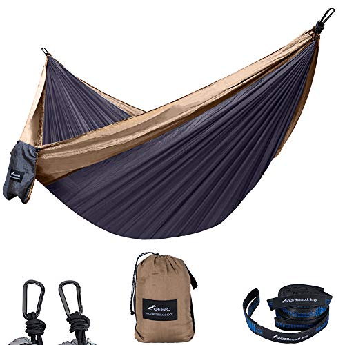 Geezo Double Camping Hammock, Lightweight Portable Parachute (2 Tree Straps 16 LOOPS/10 FT Included) 500lbs Capacity Hammock for Backpacking, Camping, Travel, Beach, Garden (Black Grey)