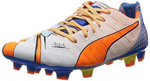 PumaevoPOWER 1.2 POP FG - Calcio scarpe da allenamento uomo , Bianco (Weiß (white-orange clown fish-electric blue lemonade 01)), 44