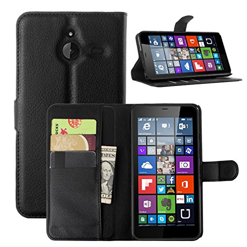 Ycloud Tasche für Nokia Microsoft Lumia 640 XL Dual-SIM Hülle, PU Ledertasche Flip Cover Wallet Case Handyhülle mit Stand Function Credit Card Slots Bookstyle Purse Design schwarz