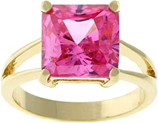 18k Gold Plated Princess Cut Pink Ice Color Cubic Zirconia Solitaire Ring