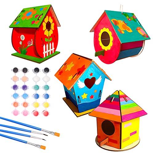 icyant Kit casetta per uccelli fai da te, 4 confezioni di casette per uccellini in legno doodle, costruisci e dipingi giocattolo in legno per arti e pittura con colori e pennelli.
