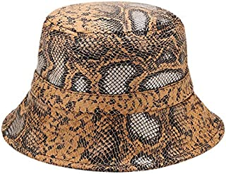 TOOGOO Leather Snake Print Bucket Hat Fisherman Hat Outdoor Travel Hat Unisex Sun Hat Folding White