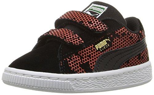 PUMA Suede Night Camo V Inf Sneaker (Toddler), Puma Black/Mandarin, 7 M US Toddler