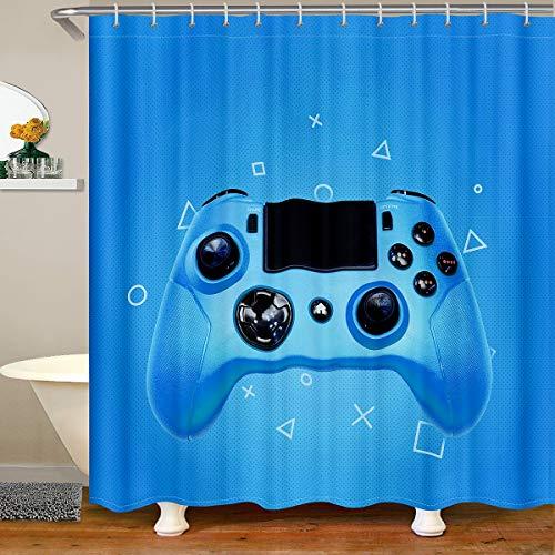 Gamepad Duschvorhang Textil Videospiel Controller Duschvorhang 180x210 Modern Gaming Action Buttons für Stände Badewannen Gamer Console Mit 12 Haken Blau