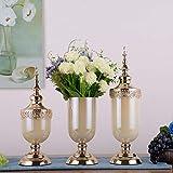 DAMAI STORE Florero Creativo Decoración Cristal Transparente Mesa De Comedor De Lujo Decoración Suave Sala De Estar Simulación Arreglo Floral (Color : Beige)