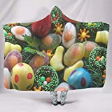 Fineiwillgo Manta con capucha con forma de donut con forma de huevo de Pascua, muy suave y cómoda, para niños, para dormir, sofá o sillón, color blanco, 130 x 150 cm