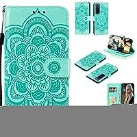 携帯電話ケース Huawei Nova 7 Pro Mandalaエンボスパターン水平フリップPUレザーケースホルダー&カードスロット&Walle&Lanyard (Color : Green)