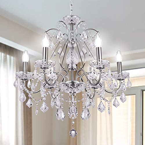 Wellmet, lampadario moderno con 6 luci, diametro 24 pollici, stile classico a candela, lampadario da soffitto per soggiorno, sala da pranzo, camera da letto