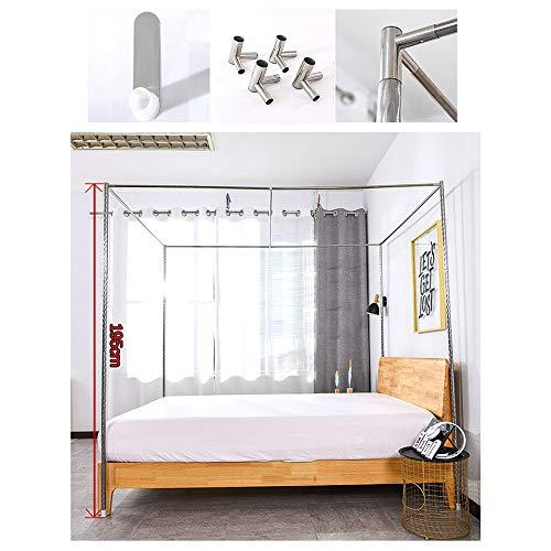 HOXMOMA Bed Canopy Bracket, Edelstahl Moskitonetzrahmen, 4 Ecken Mosquito Net Post, Verdickter Stahlmastbettständer mit Metall-T-Verbindern,24mm,1.2×2m Bed
