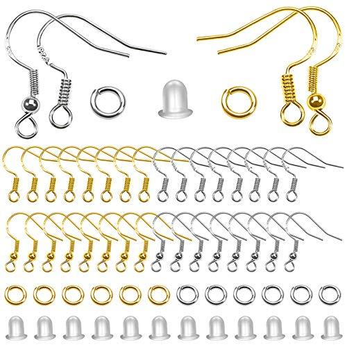 TOAOB 600 Piezas Baño de Plata de Ley 925 de Tono Plata y Dorado Ganchos para Pendientes y 4 mm para Anillo de Salto Abierto y Tapón de Pendiente Transparentes para Fabricación de Joyas