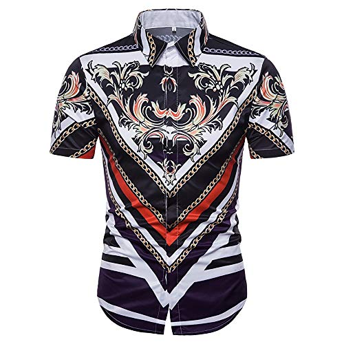 Photo of BESTSOON Men's Shirts 3D Digital Printing Palace Style High-end Men's Short-sleeved Shirt Photo Color Short Sleeve Shirt For Men (Color : C1, Size : XXL)