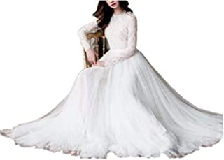 73313996bcc Tsbridal Beach Wedding Dress Long Sleeves Round Neck Lace Wedding Gowns
