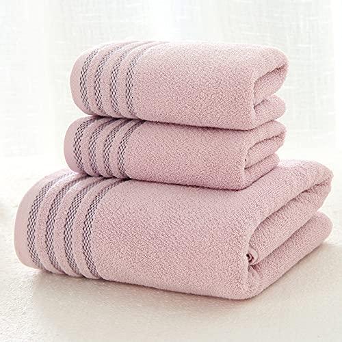 Juego de toallas de baño 3 piezas/juego de toallas de baño de algodón puro a rayas suaves de color sólido, 2 toallas de cara y 1 toalla de baño