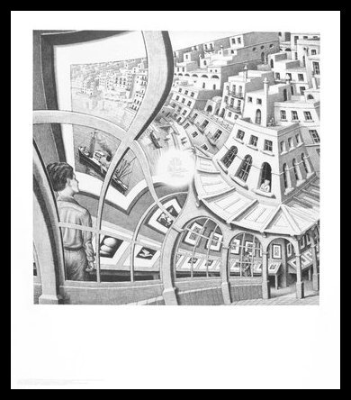 Germanposters MC Escher Bildergalerie Poster Kunstdruck Bild im Alu Rahmen in schwarz 65x55cm