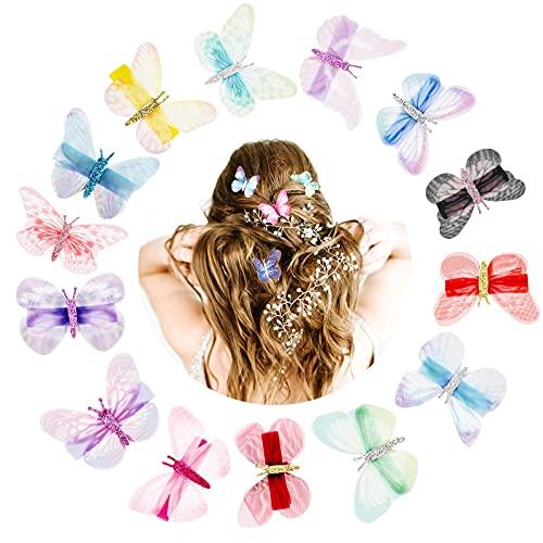 Vathery 15 pz Clip per Capelli a Farfalla con Mollette 3D Glitter Barrette Accessori per Capelli Bambina...