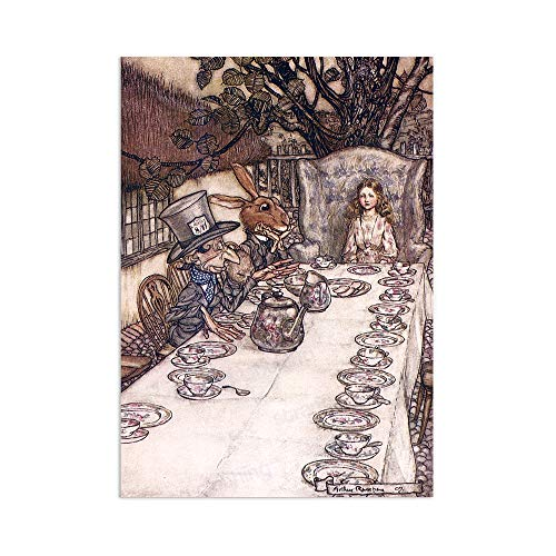 Alice In Wonderland Vintage Art Print – Wall Poster Mad Hatter Arthur Rackham A3 (Unframed)